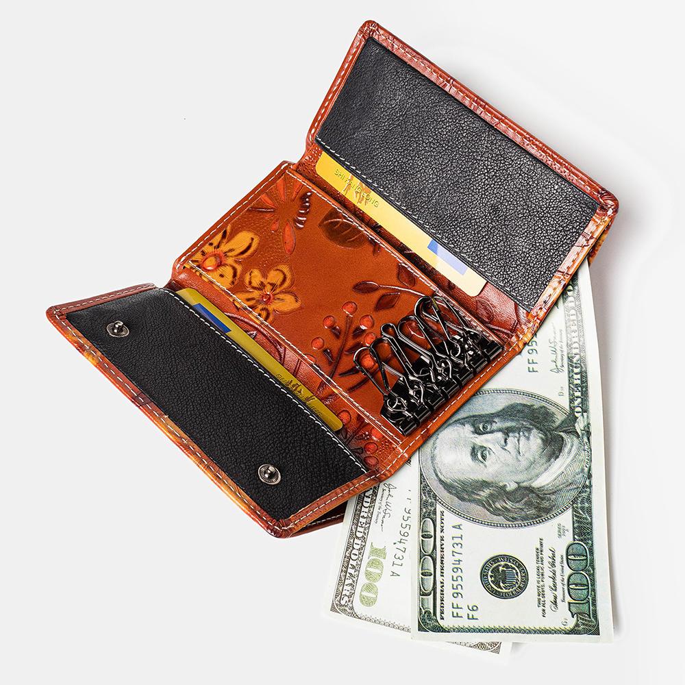 Women Embossed Genuine Leather Floral Key Holder Flap Wallet