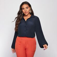 Plus Solid Bishop Sleeve Button Up Blouse