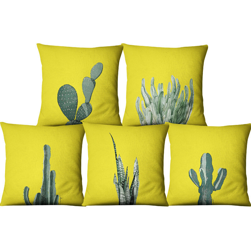 Yellow Succulent Cactus Linen Pillow Case Home Fabric Sofa Cushion Cover