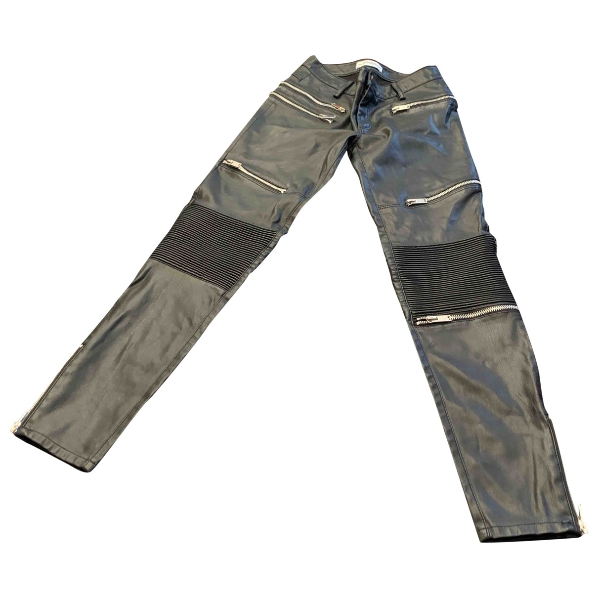 Zara \N Black Leather Trousers for Women XS International