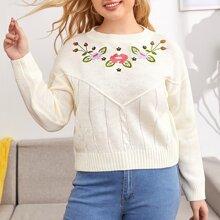 Pullover mit sehr tief angesetzter Schulterpartie und Blumen Stickereien