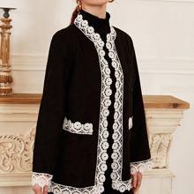 Guipure Lace Panel Coat