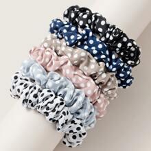 6pcs Multicolor Dot Scrunchie