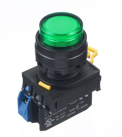 Idec , YW Illuminated Green Extended Push Button Complete Unit, NO, 22mm Momentary Screw