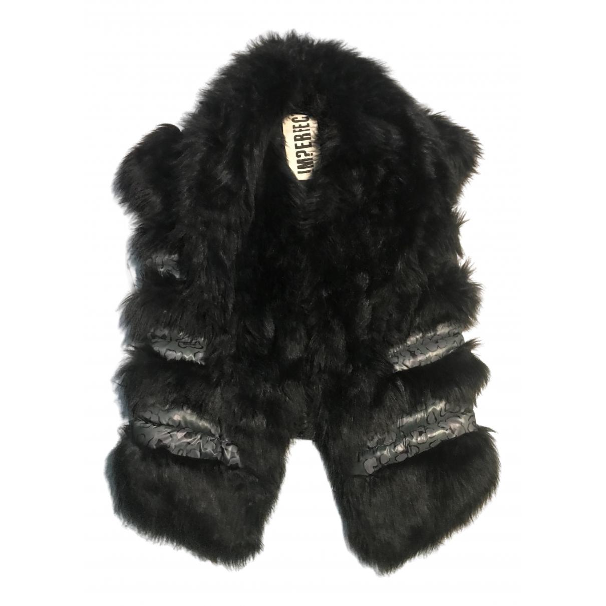 - Veste   pour femme en fourrure synthetique - noir