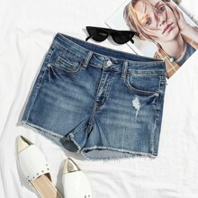Ripped Raw Hem Skinny Denim Shorts