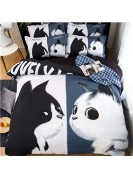 Cute Black&White Cat 3D Reactive Printed Polyester 4-Piece Bedding Sets/Duvet Covers
