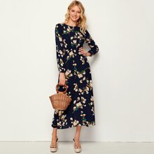 Allover Floral Print Elastic Waist Plicated Dress
