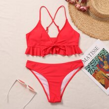 Criss Cross Ruffle Hem Bikini Swimsuit