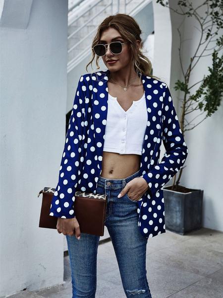 Yoins Polka Dot Lapel Collar Long Sleeves Blazer