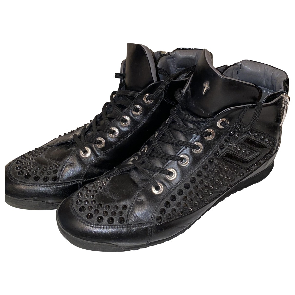 Cesare Paciotti \N Black Leather Trainers for Men 8 UK