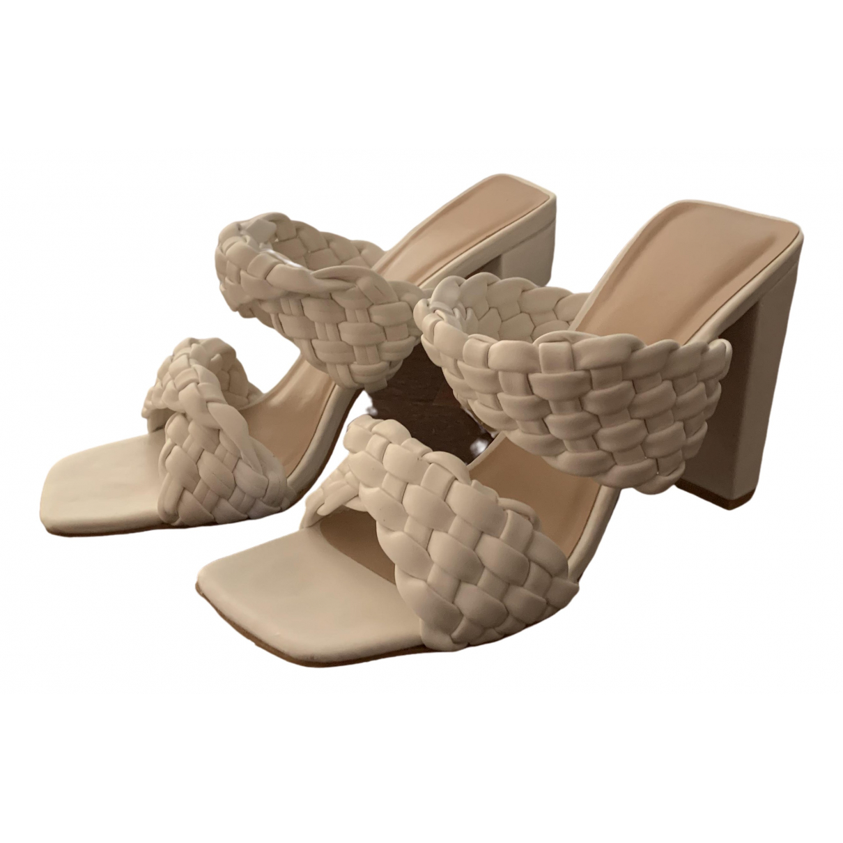 Non Signé / Unsigned \N White Leather Sandals for Women 39 IT
