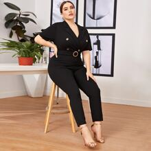 Plus Notched Collar Buttoned Front O-ring Belted Jumpsuit