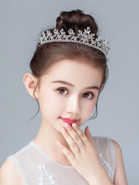 Milanoo Flower Girl Tocados Accesorios de perlas de plata Accesorios de pelo de metal para niños
