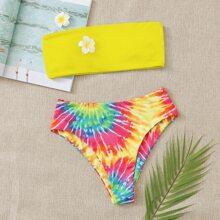 Tie Dye Bandeau High Waisted Bikini Swimsuit