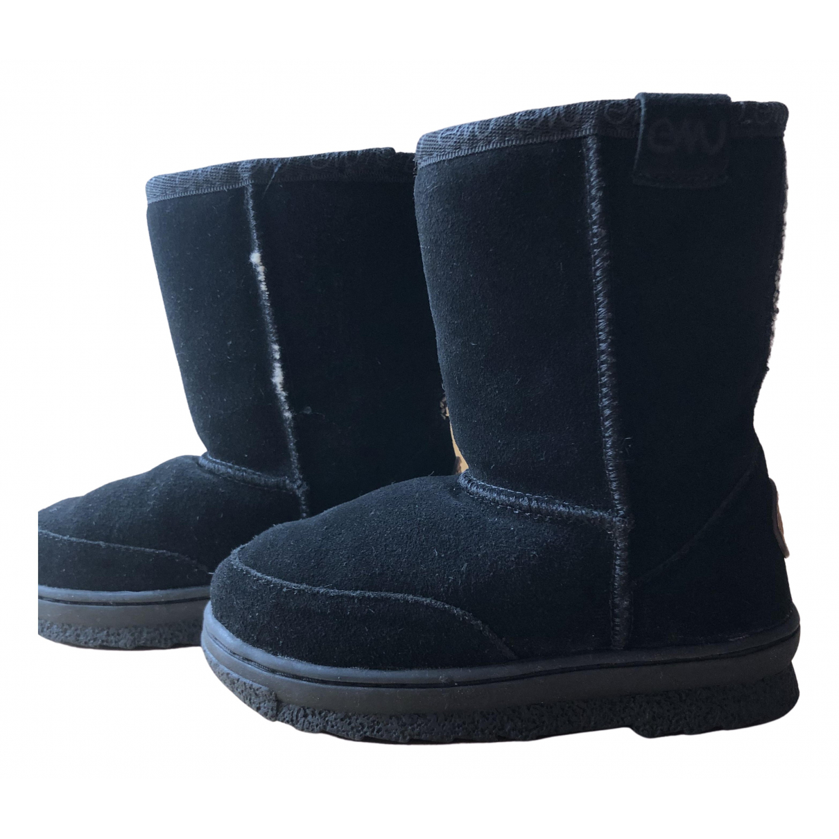 Emu Australia N Black Suede Boots for Kids 7.5 UK