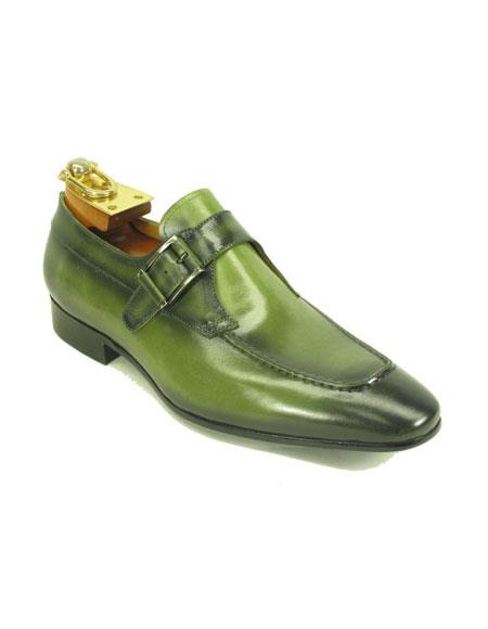 Men's Fashionable Jade Buckle Slip-On Loafer Monk Strap Leather Shoes