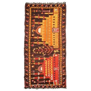 ECARPETGALLERY  Flat-weave Konya Black Wool Kilim - 5'4 x 11'1 (Black - 5'4 x 11'1)