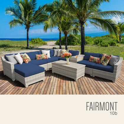 FAIRMONT-10b-NAVY Fairmont 10 Piece Outdoor Wicker Patio Furniture Set 10b with 2 Covers: Beige and
