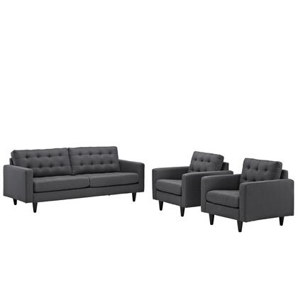 Empress Collection EEI-1314-DOR 3 PC Armchair and Sofa Set with Track Arms  Plastic Foot Glides  Solid Wood Tapered Legs and Fabric Upholstery in