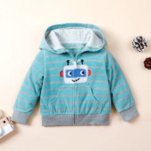 Toddler Boys Striped Cartoon Embroidered Hooded Teddy Jacket