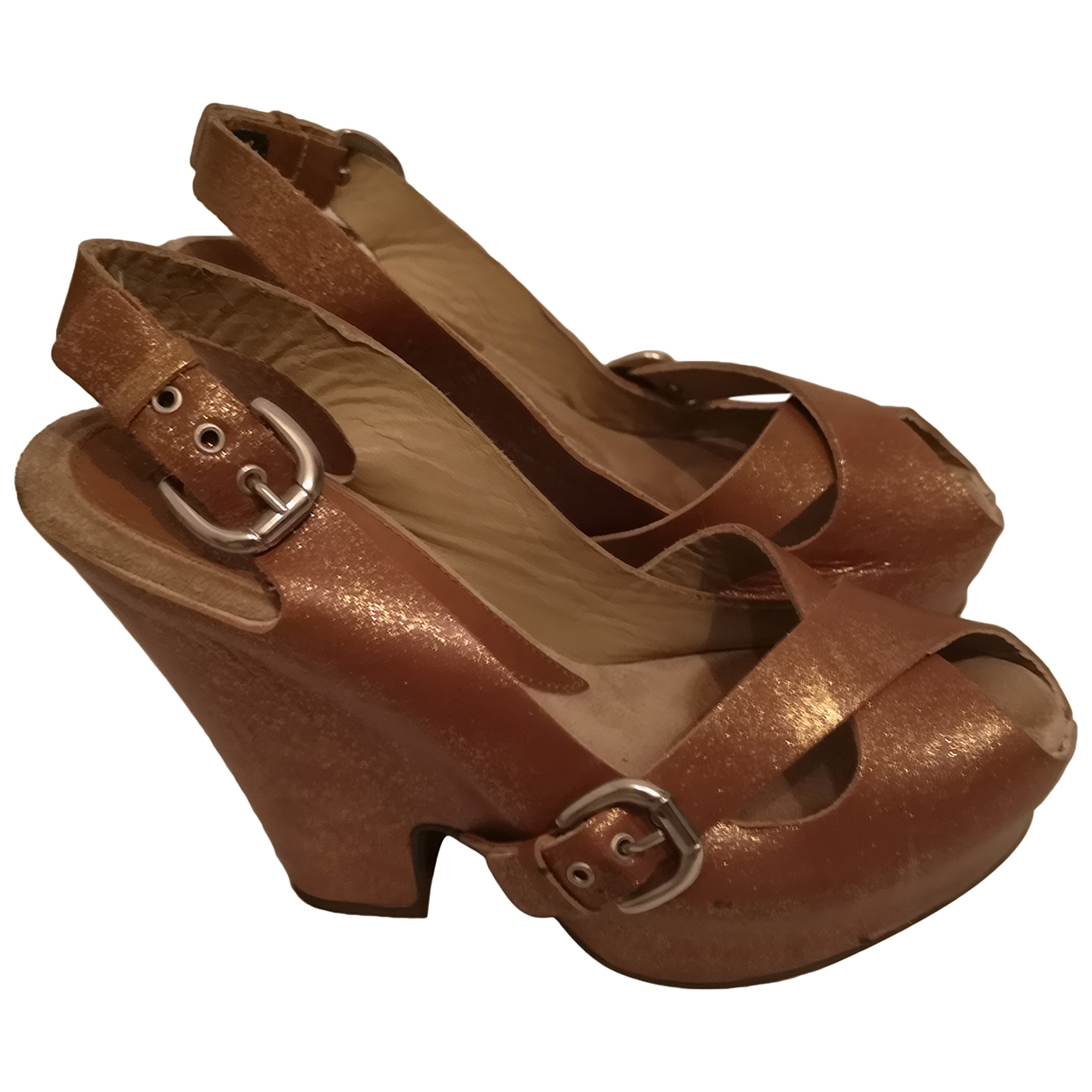 Sport Max - Sandales   pour femme en cuir - metallise