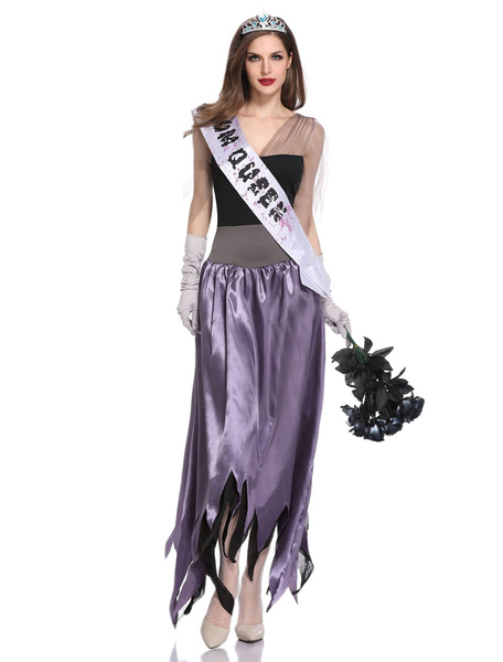 Milanoo Zom Queen Costume Halloween Purple Corpse Bride Women Dresses Set