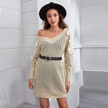 Guipure Lace Appliques Sweater Dress Without Belt