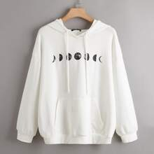 Plus Moon Print Drop Shoulder Drawstring Hoodie