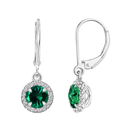 Lab Created Emerald Sterling Silver Drop Earrings, One Size , No Color Family