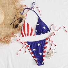 Striped & Star Print Tie Side Bikini Swimsuit