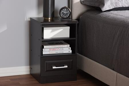 MH5054-WENGE-NS Baxton Studio Odelia Modern and Contemporary Wenge Brown Finished 1-Drawer