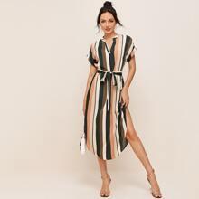 Notch Neck Curved Hem Self Belted Striped Dress