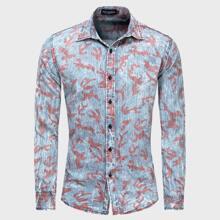 Denim Hemd mit komplettem Muster und Knopfen vorn