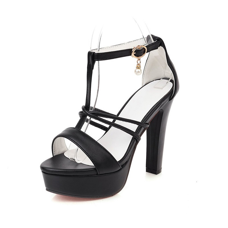 Ericdress Chunky Heel Heel Covering T-Shaped Buckle Platform Sandals