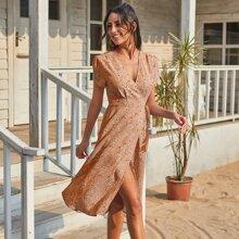 Kleid mit Fledermausaermeln, Wickel Design, Knoten und Blumen Muster