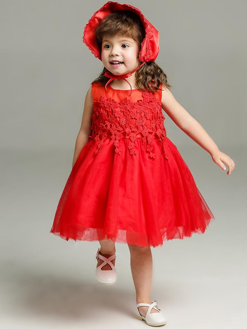Ericdress Lace-detailed Back Bowknot Baby Ball Gown Dress