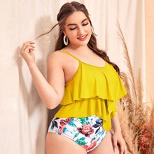 Bikini Badeanzug mit Blumen Muster, Zipfelsaum und Rueschen