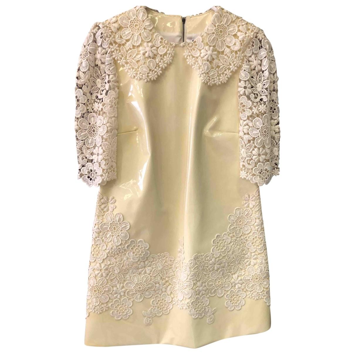 Dolce & Gabbana \N Kleid in  Ecru Leder