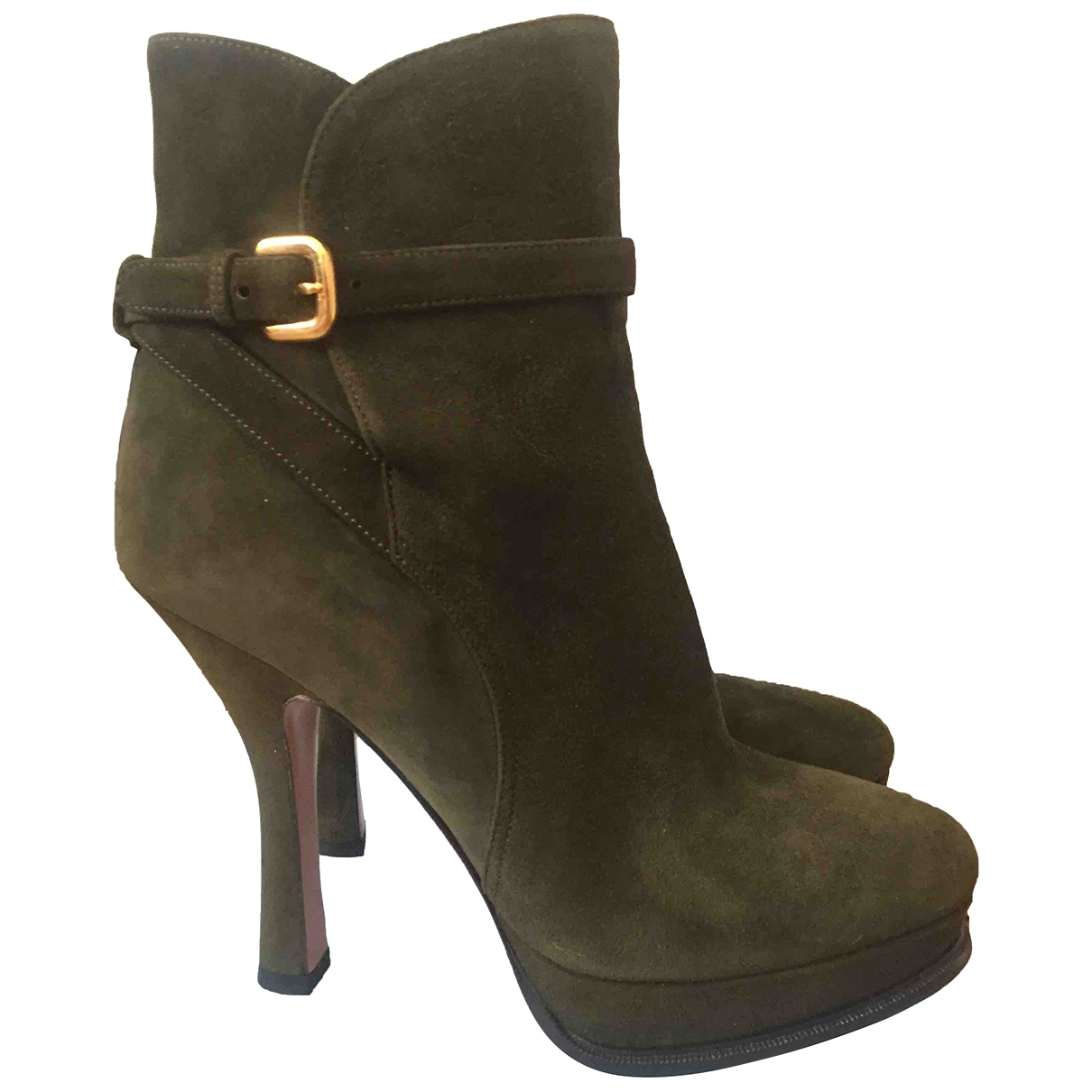 Prada \N Khaki Suede Ankle boots for Women 38 IT