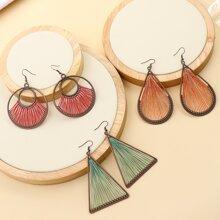 3pairs Geometric Charm Drop Earrings