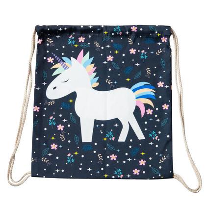 Drawstring Backpack Fabric Print Bag, Unicorn White - LIVINGbasics™