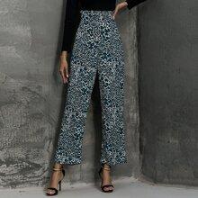 Paperbag Waist Allover Print Wide Leg Pants