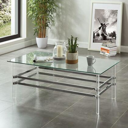 Trofa CM4351C Coffee Table with 8mm Tempered Glass Top  Metal Frame and Acrylic Legs in Clear