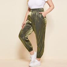 Plus Slant Pocket Silky Pants With Chain