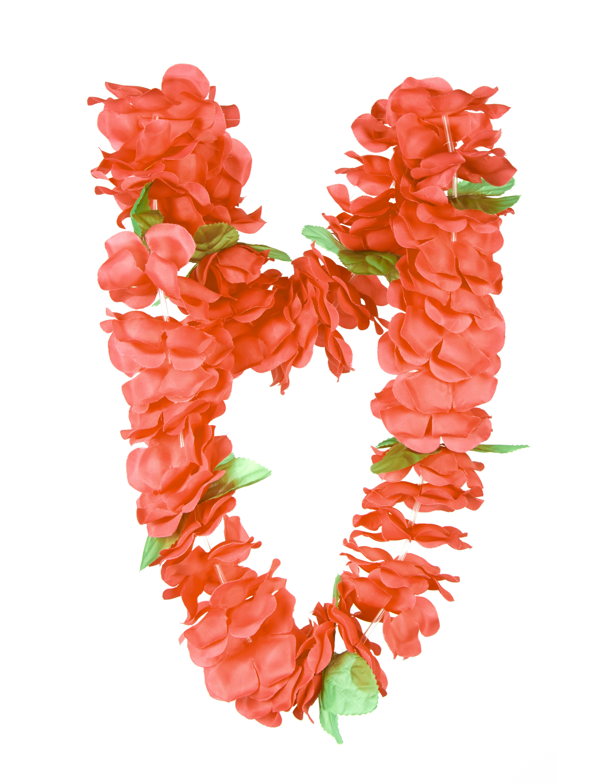 Kostuemzubehor Hawaiikette mit gruenen Blaettern rot