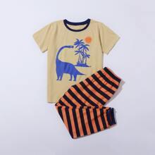 Boys Cartoon Graphic Tee With Striped Pants PJ Set