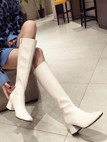 Milanoo Women\'s Square Toe Knee-High Boots