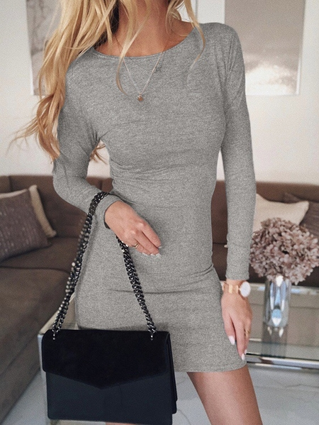 Yoins Crew neck Long sleeves Bodycon Fit Dress