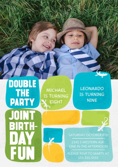 Kids Birthday Party Invites 5x7 Cards, Premium Cardstock 120lb with Rounded Corners, Card & Stationery -Double the Party Joint Boy Bday